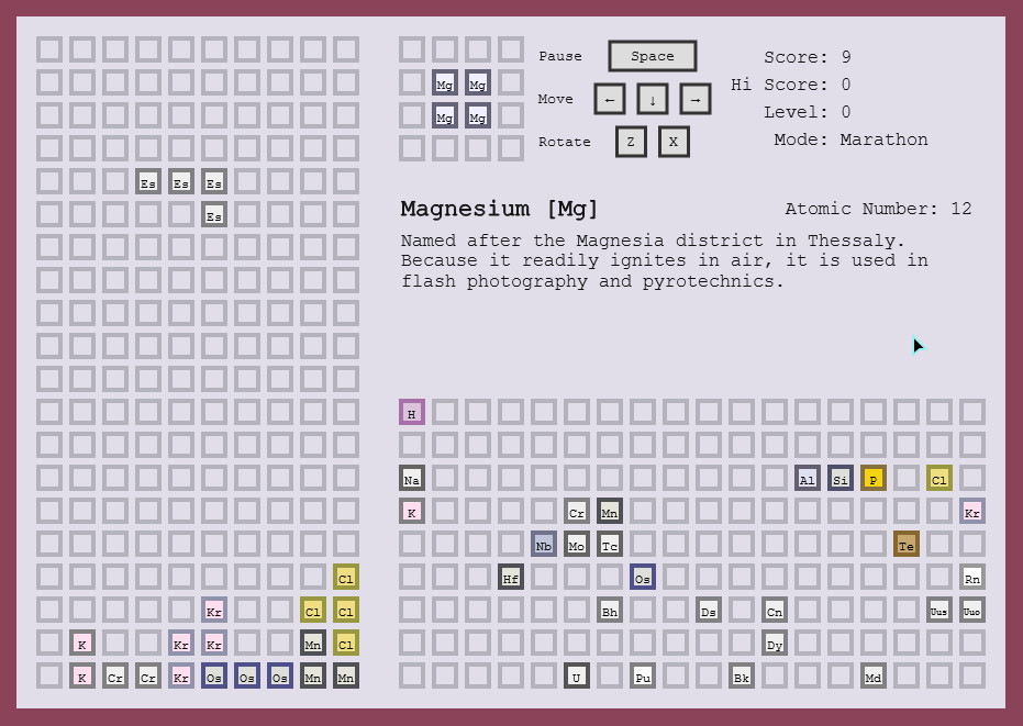 Projects tetris clone based around the periodic table of elements urtaz Image collections